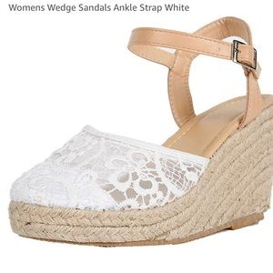 Wedge Sandal for Ladies w/Ankle Strap, White; Sz 5